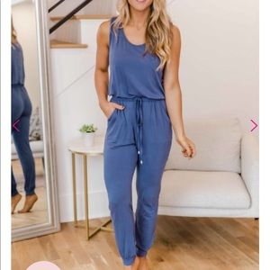 NWT! Pink lily blue Jumpsuit with pockets in MED